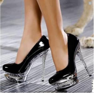 Shoes- black stiletto & glass